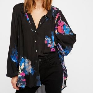 Free People Oversized Floral Button Down Shirt